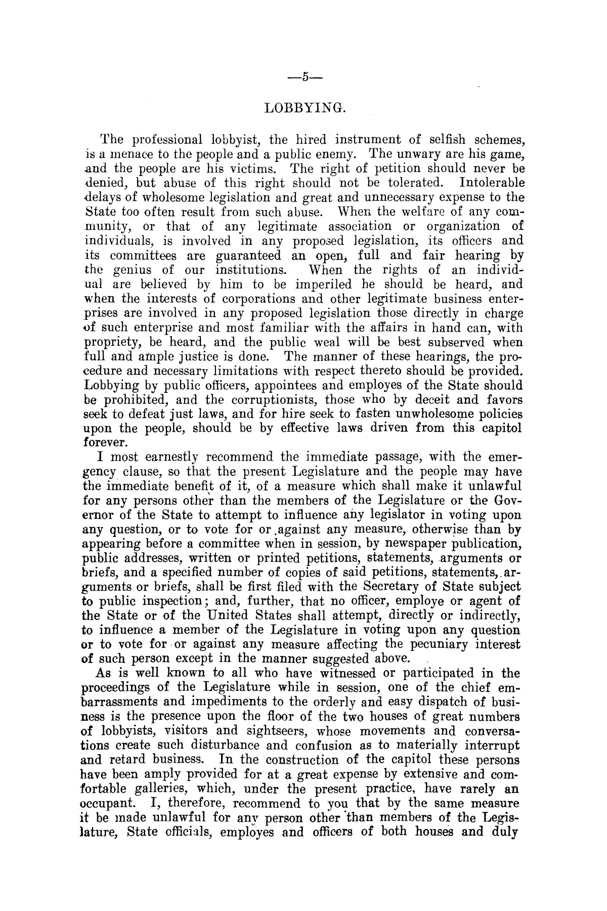Message of Governor T.M. Campbell to the thirtieth legislature of Texas, to which is appended the State Democratic Platform adopted at Dallas, Texas, August 13, 1906.                                                                                                      [Sequence #]: 5 of 27