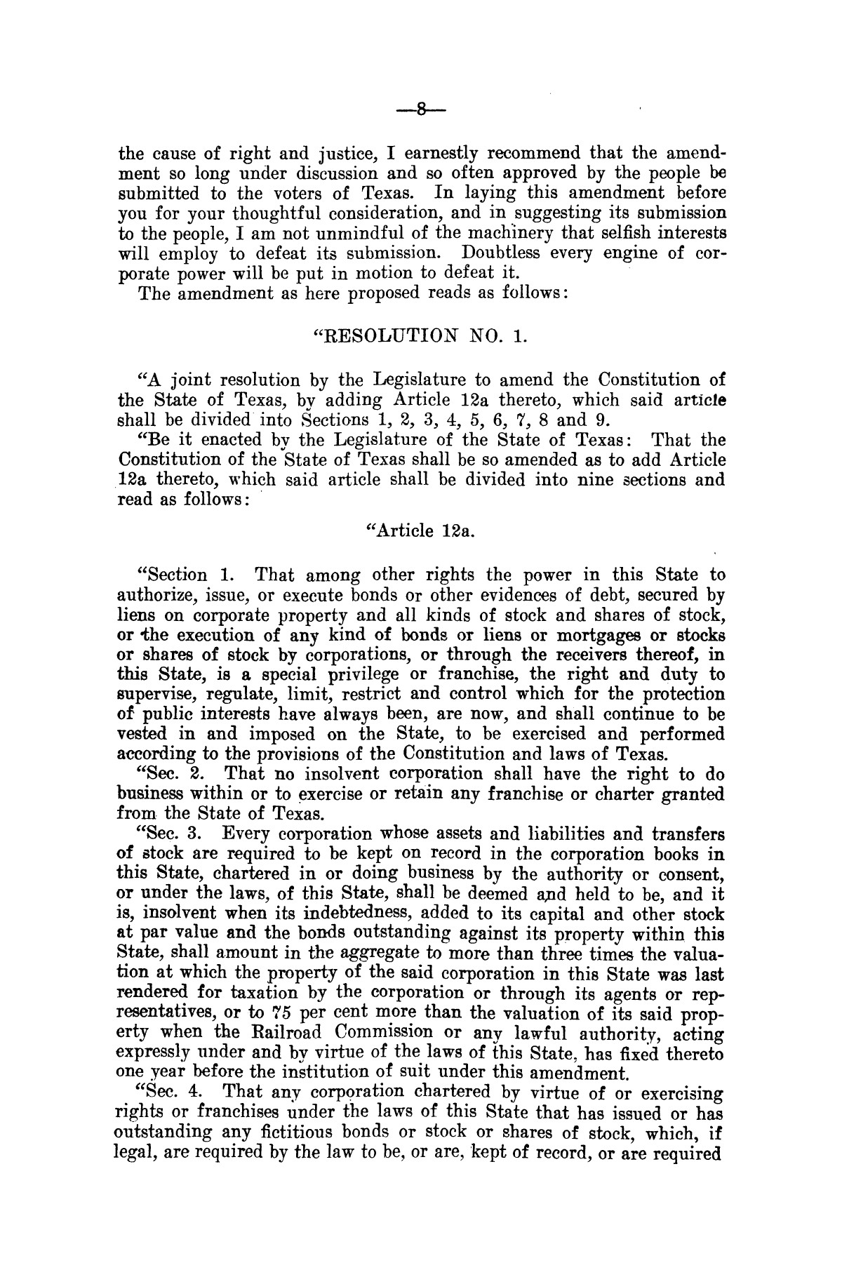 Message of Governor T.M. Campbell to the thirtieth legislature of Texas, to which is appended the State Democratic Platform adopted at Dallas, Texas, August 13, 1906.                                                                                                      [Sequence #]: 8 of 27