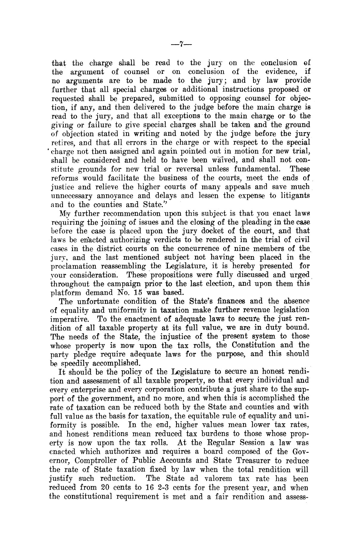 Message of Governor T.M. Campbell to the first called session of the thirtieth legislature of Texas: together with the proclamation of the Governor convening the legislature in extra-ordinary session.                                                                                                      [Sequence #]: 6 of 8
