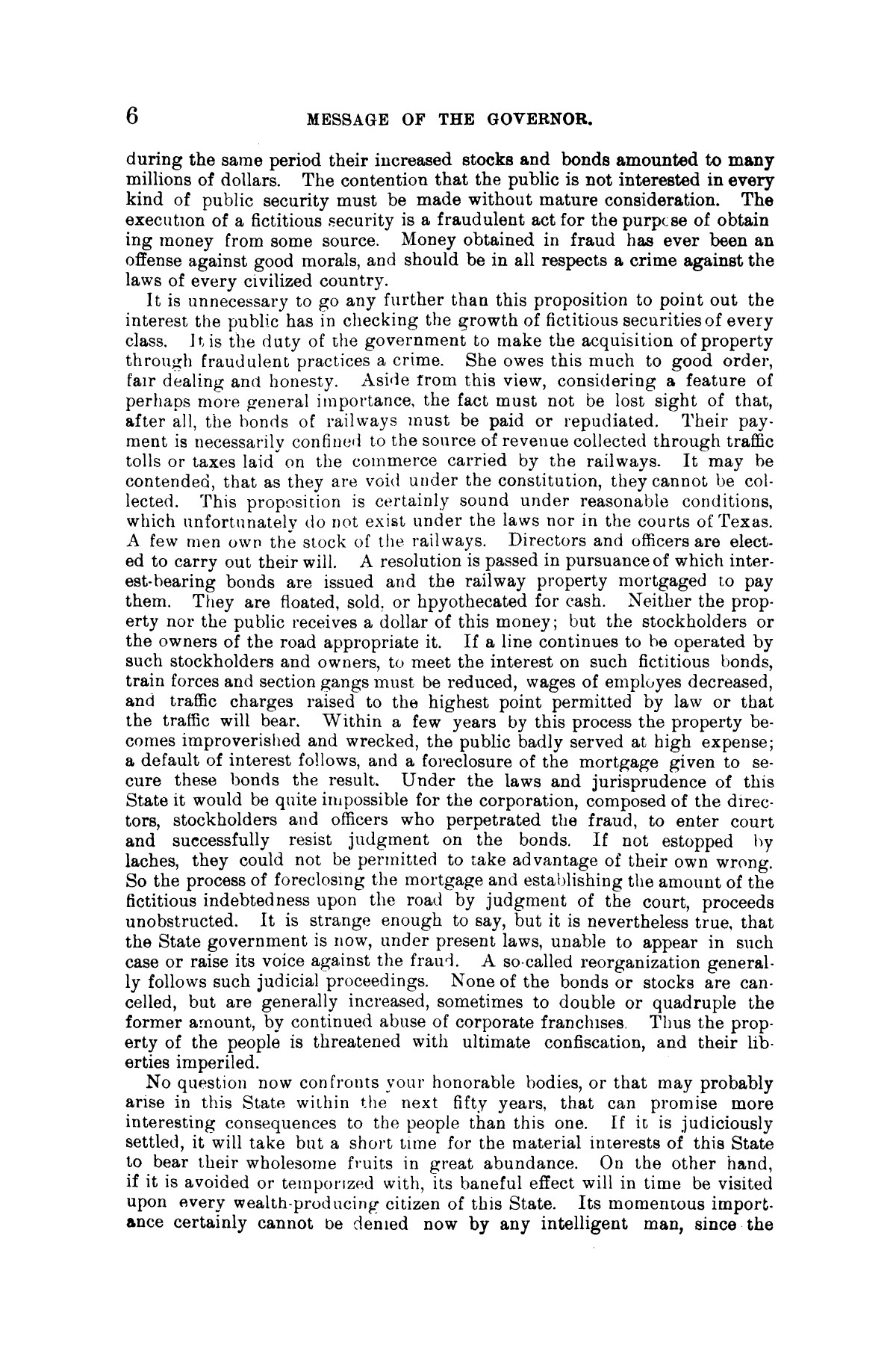 Message of Gov. J. S. Hogg to the twenty-third Legislature of Texas.                                                                                                      [Sequence #]: 6 of 28