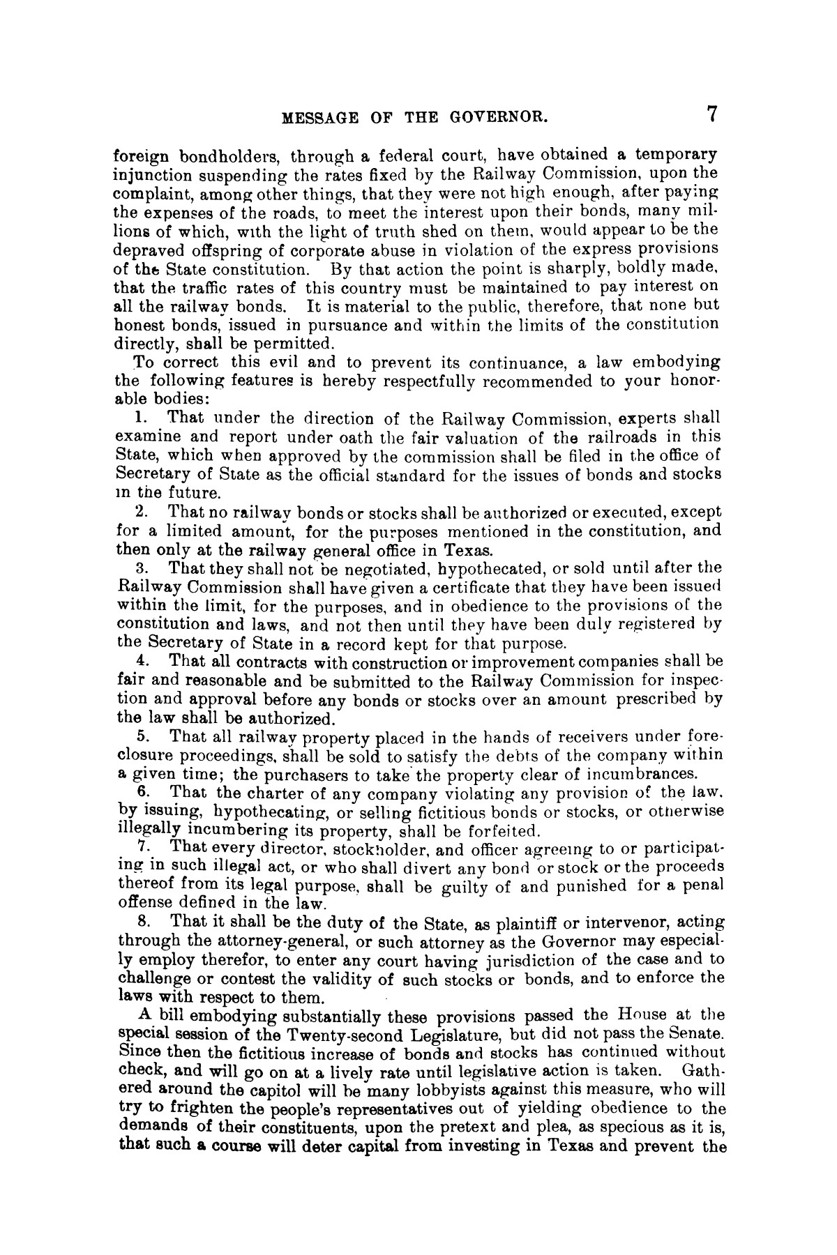 Message of Gov. J. S. Hogg to the twenty-third Legislature of Texas.                                                                                                      [Sequence #]: 7 of 28