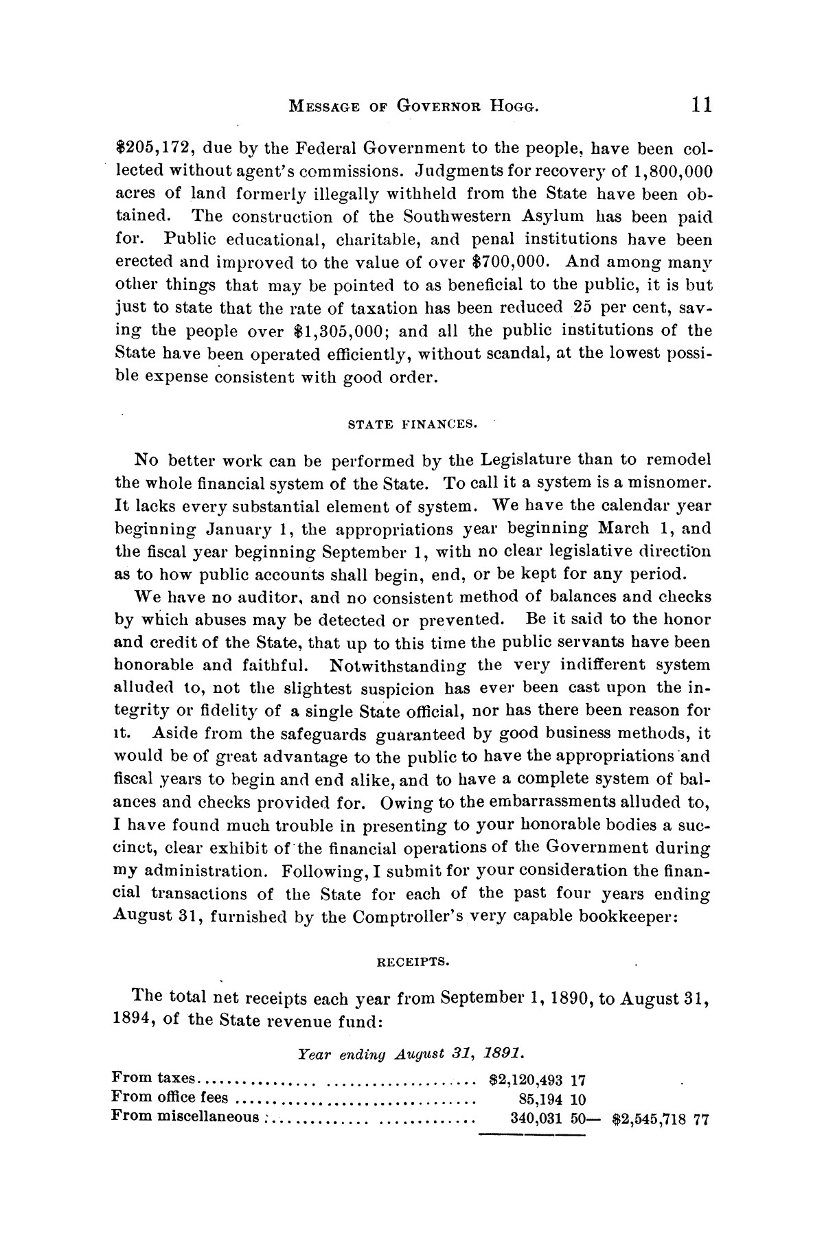 Message of Governor James S. Hogg to the twenty-fourth legislature of Texas                                                                                                      [Sequence #]: 11 of 48