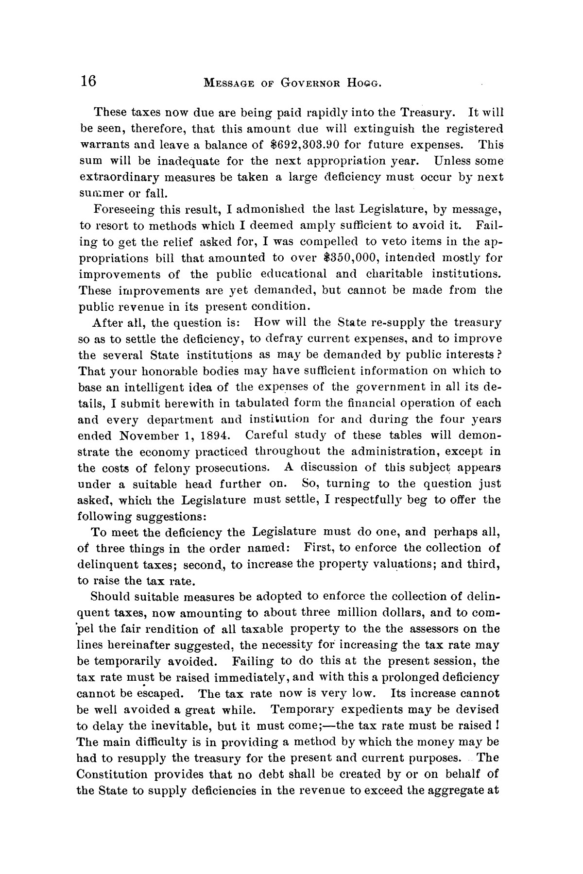 Message of Governor James S. Hogg to the twenty-fourth legislature of Texas                                                                                                      [Sequence #]: 16 of 48