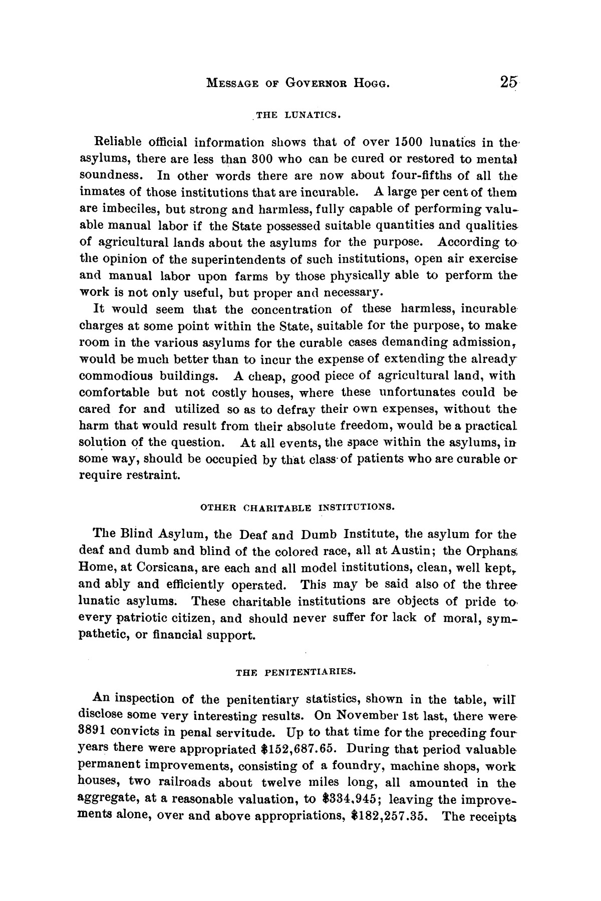 Message of Governor James S. Hogg to the twenty-fourth legislature of Texas                                                                                                      [Sequence #]: 25 of 48