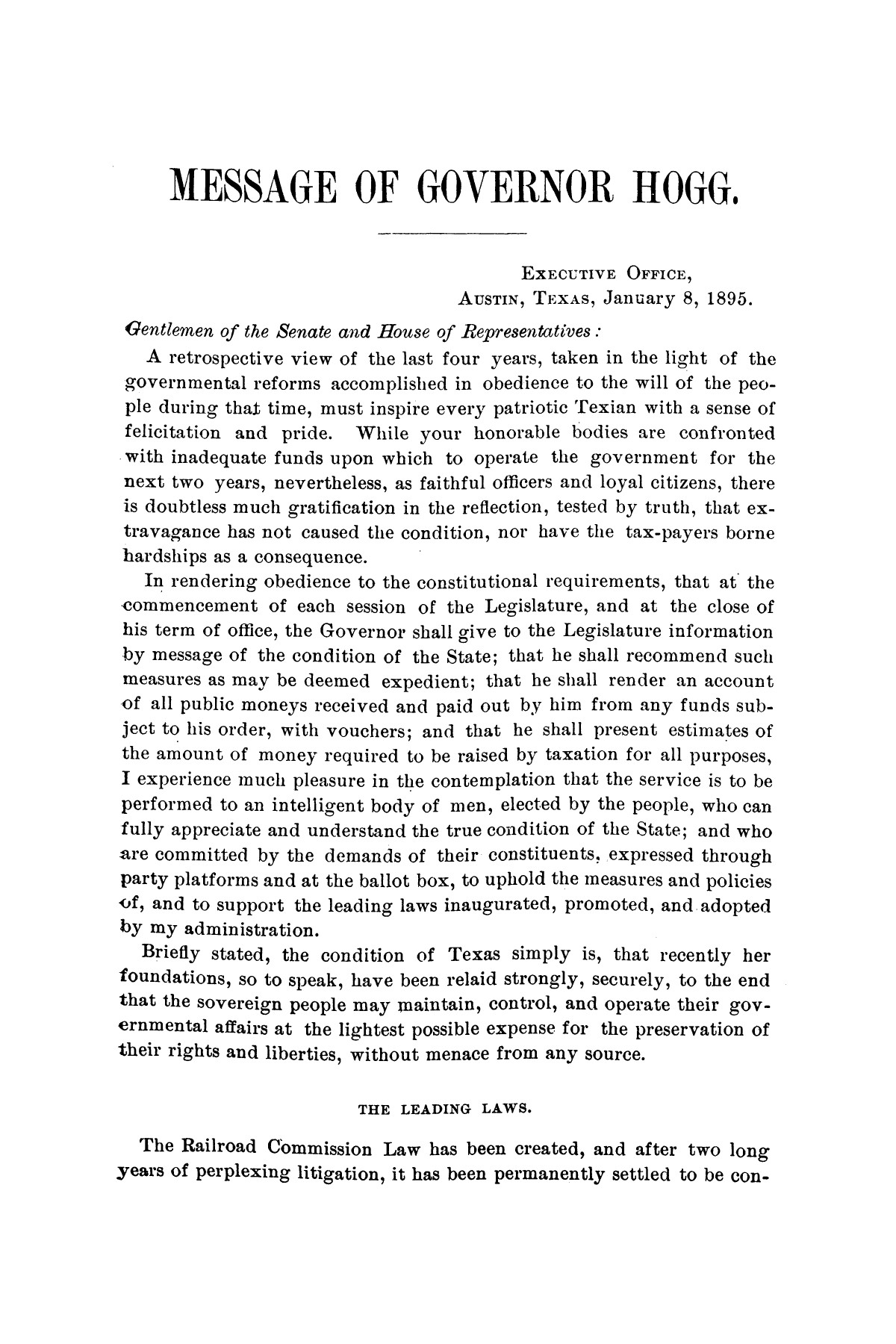 Message of Governor James S. Hogg to the twenty-fourth legislature of Texas                                                                                                      [Sequence #]: 3 of 48