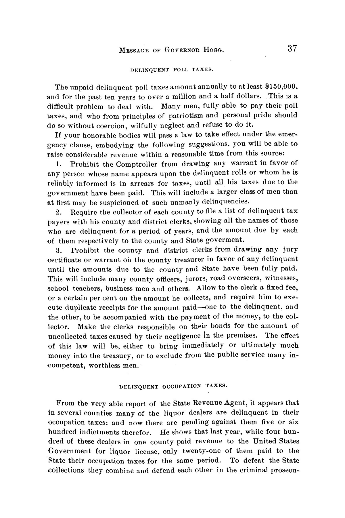 Message of Governor James S. Hogg to the twenty-fourth legislature of Texas                                                                                                      [Sequence #]: 37 of 48