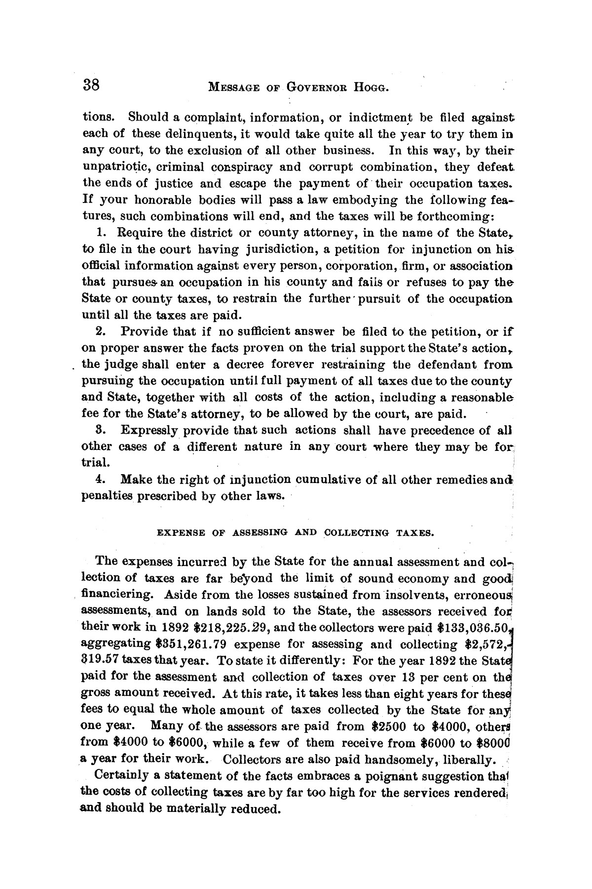 Message of Governor James S. Hogg to the twenty-fourth legislature of Texas                                                                                                      [Sequence #]: 38 of 48