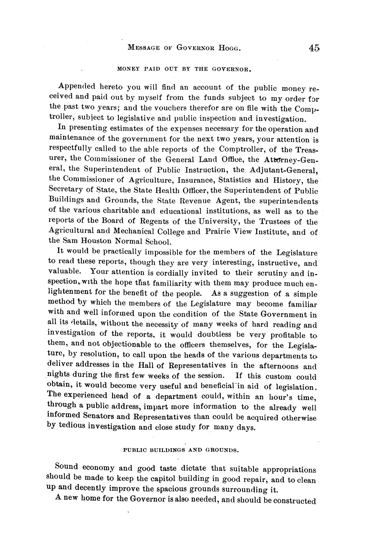Message of Governor James S. Hogg to the twenty-fourth legislature of Texas                                                                                                      [Sequence #]: 45 of 48