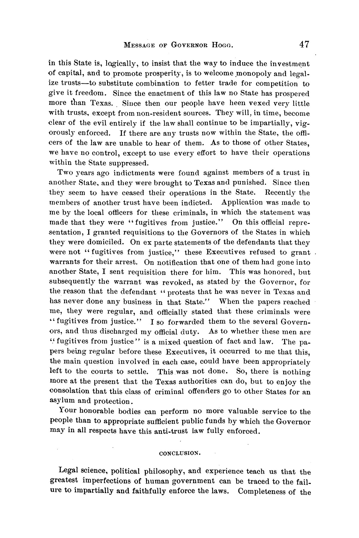 Message of Governor James S. Hogg to the twenty-fourth legislature of Texas                                                                                                      [Sequence #]: 47 of 48
