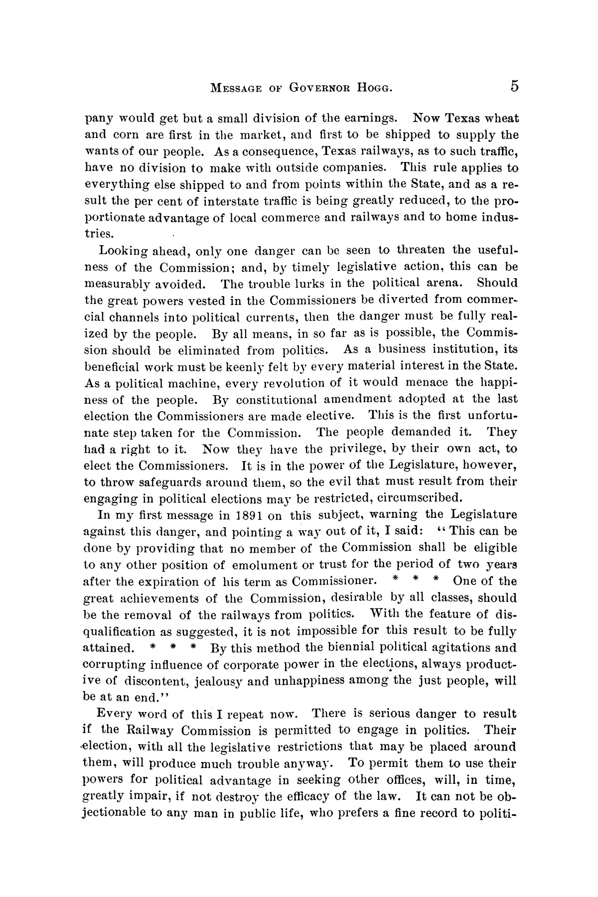 Message of Governor James S. Hogg to the twenty-fourth legislature of Texas                                                                                                      [Sequence #]: 5 of 48
