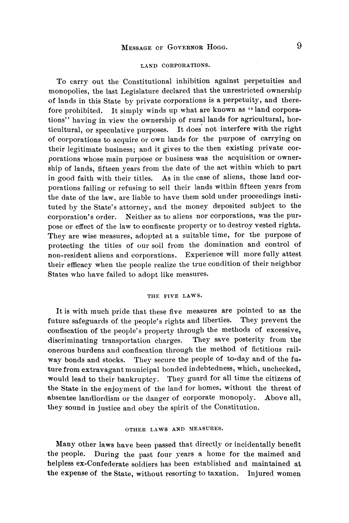 Message of Governor James S. Hogg to the twenty-fourth legislature of Texas                                                                                                      [Sequence #]: 9 of 48
