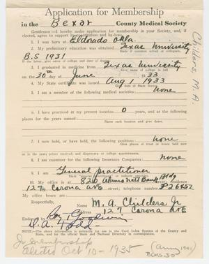 Primary view of object titled '[Medical Association Application: M. A. Childers, MD]'.