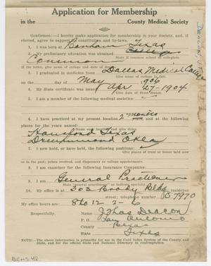 Primary view of object titled '[Medical Association Application: J. T. Deacon, MD]'.