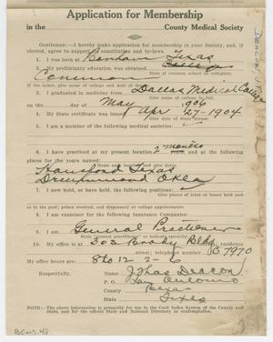 Primary view of object titled '[Medical Association Application: C. H. Dittman, MD]'.