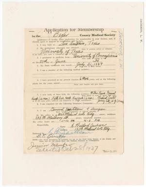 Primary view of object titled '[Medical Association Application: L. W. Jackson, MD]'.