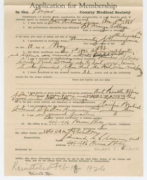 Primary view of object titled '[Medical Association Application: Edward C. Clavin, MD]'.