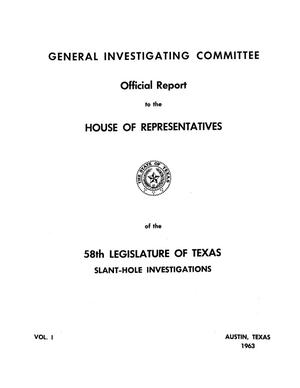 Primary view of object titled 'Official report to the House of Representatives of the 58th Legislature of Texas'.