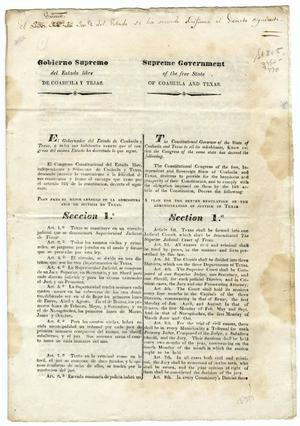 Primary view of object titled 'Plan for the better regulation of the administration of justice in Texas'.