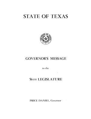 Primary view of object titled 'Governor's Message to the 56th legislature.'.