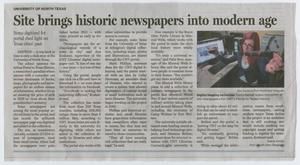 Primary view of object titled 'Site brings historic newspapers into modern age'.