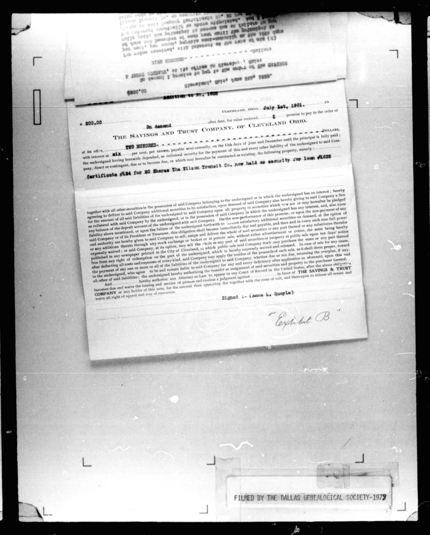 Dallas County Probate Case 2401: Quayle, Anna L  (Deceased