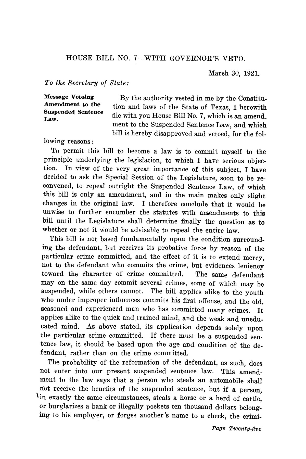 Messages of Pat M. Neff, Governor of Texas to the thirty-seventh legislature                                                                                                      [Sequence #]: 25 of 36