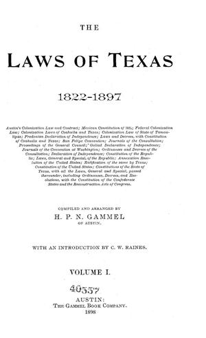 Primary view of object titled 'The Laws of Texas, 1822-1897 Volume 1'.