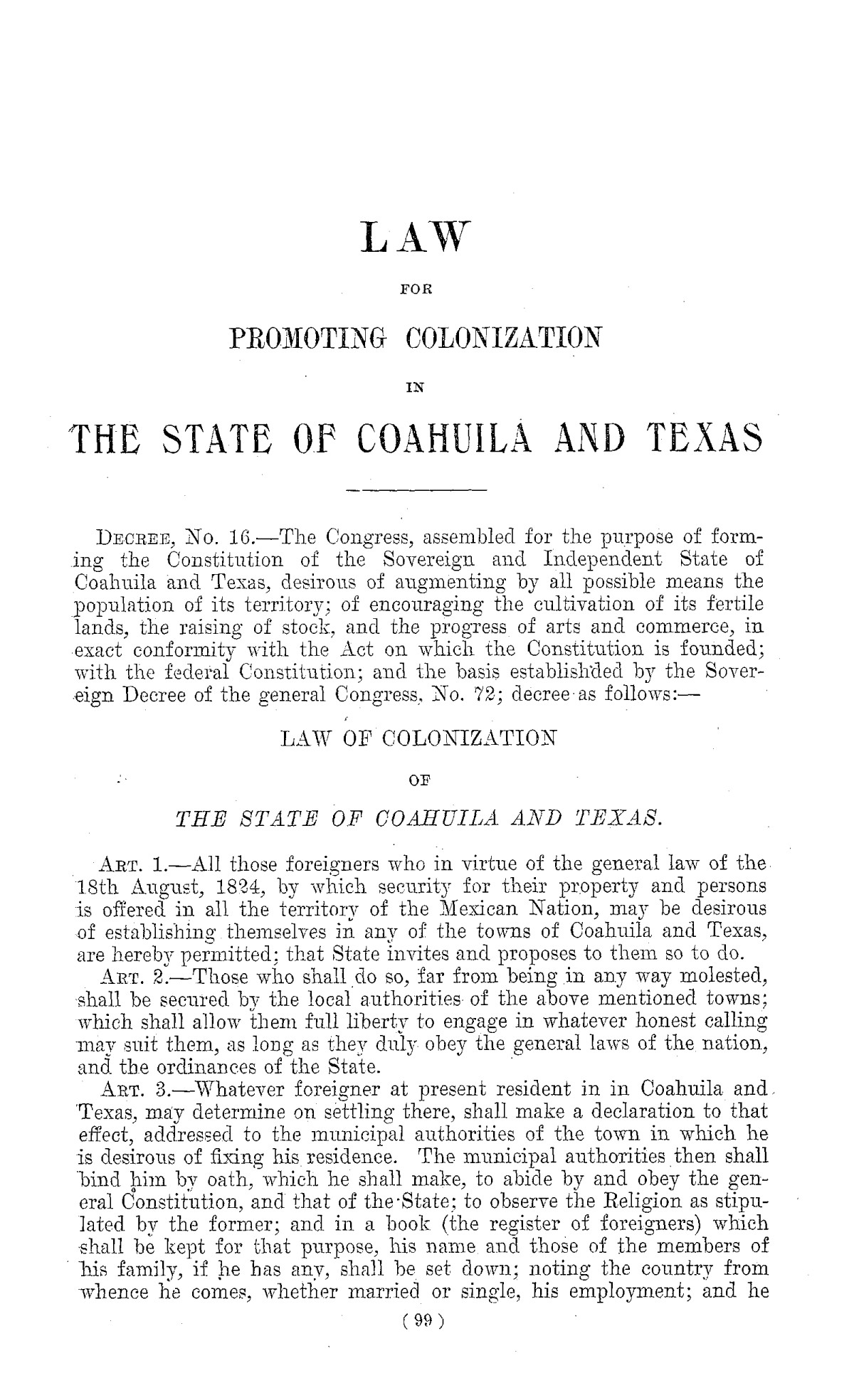 The Laws of Texas, 1822-1897 Volume 1                                                                                                      99