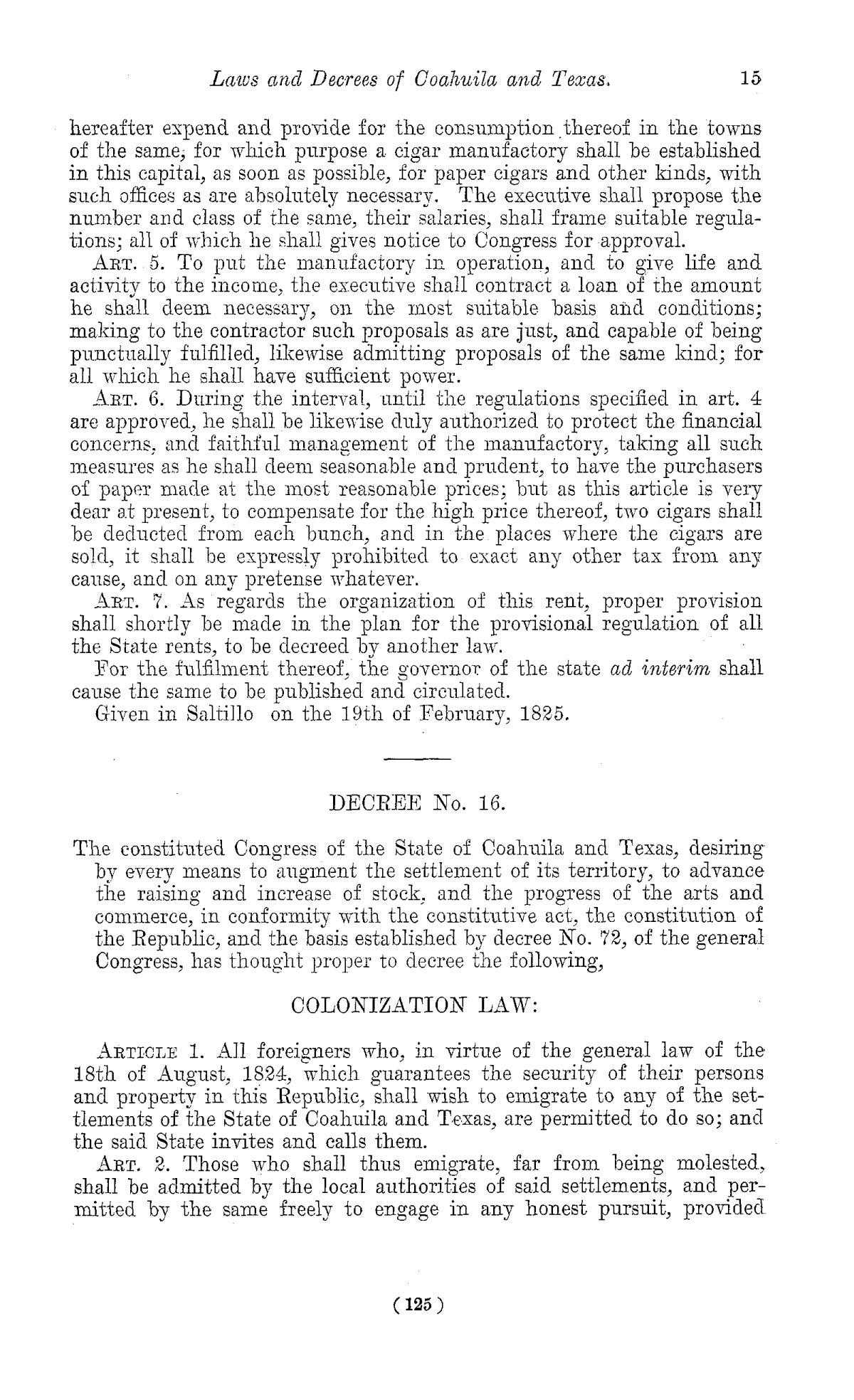 The Laws of Texas, 1822-1897 Volume 1                                                                                                      125