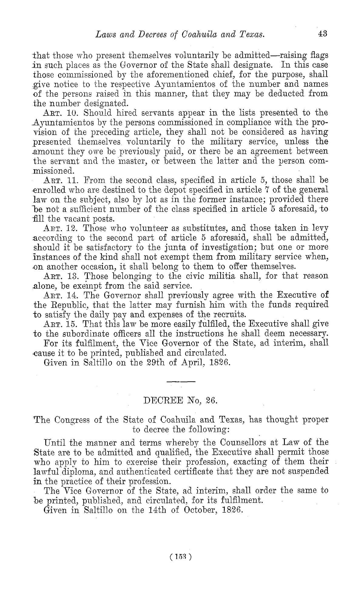 The Laws of Texas, 1822-1897 Volume 1                                                                                                      153
