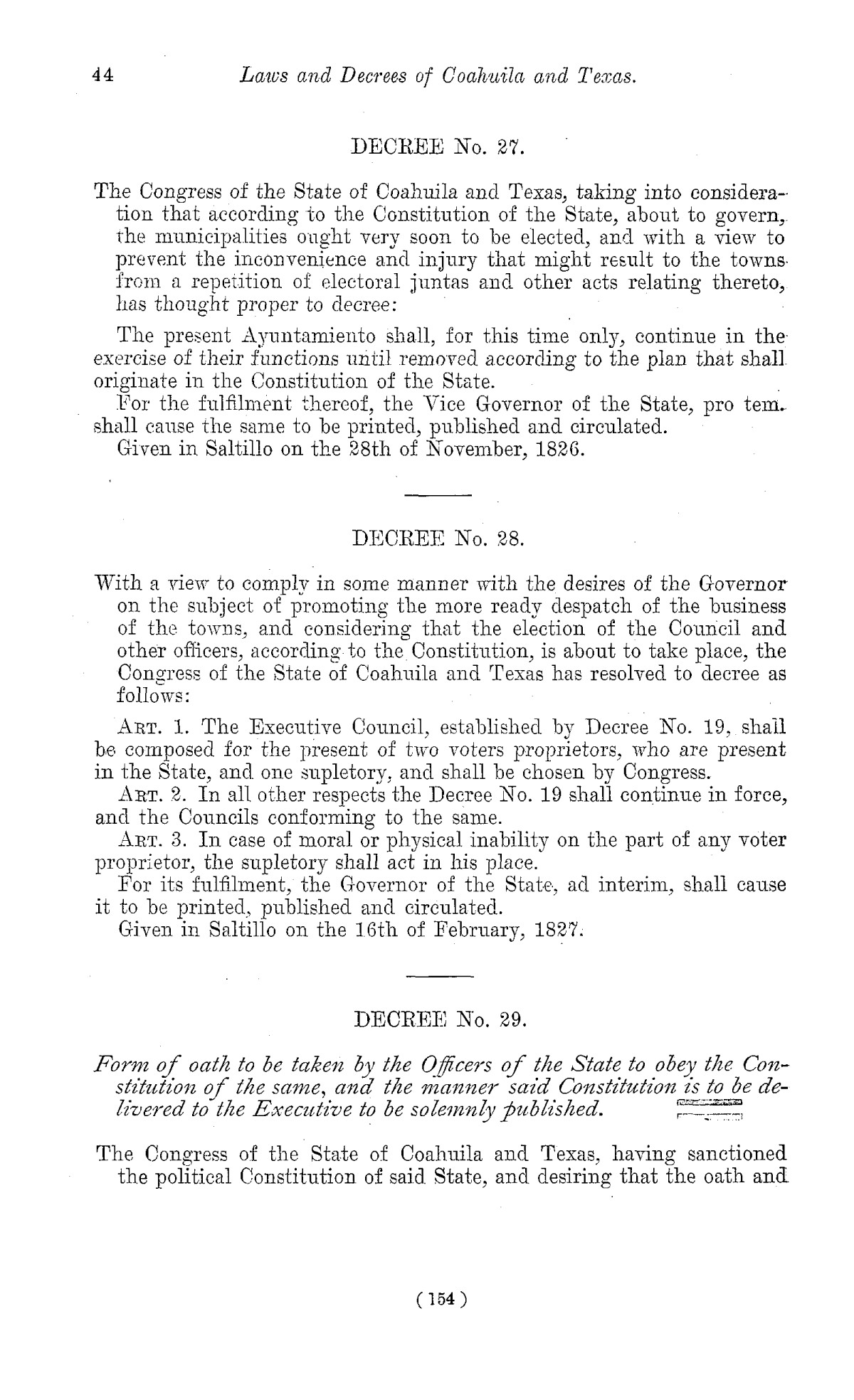 The Laws of Texas, 1822-1897 Volume 1                                                                                                      154