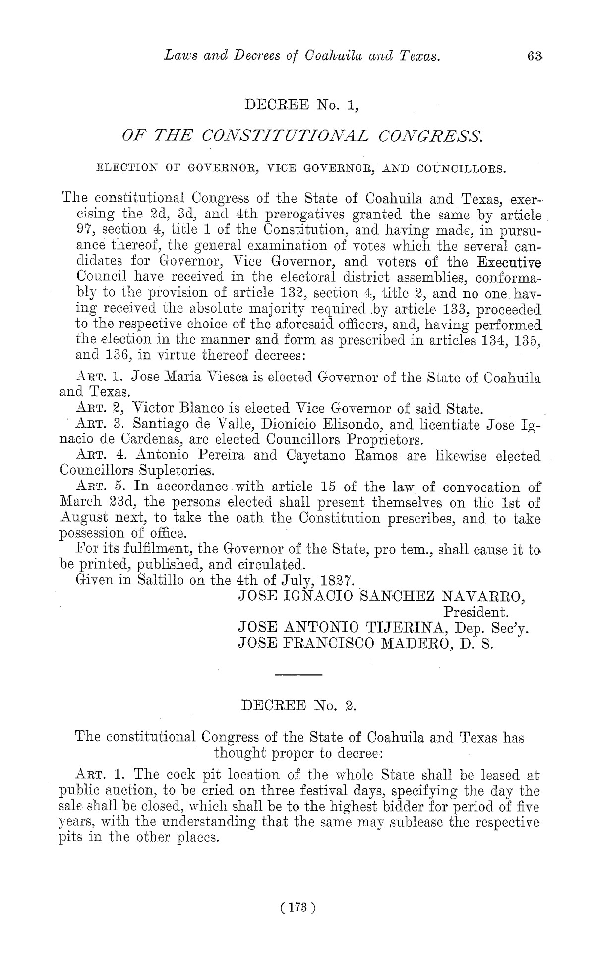 The Laws of Texas, 1822-1897 Volume 1                                                                                                      173