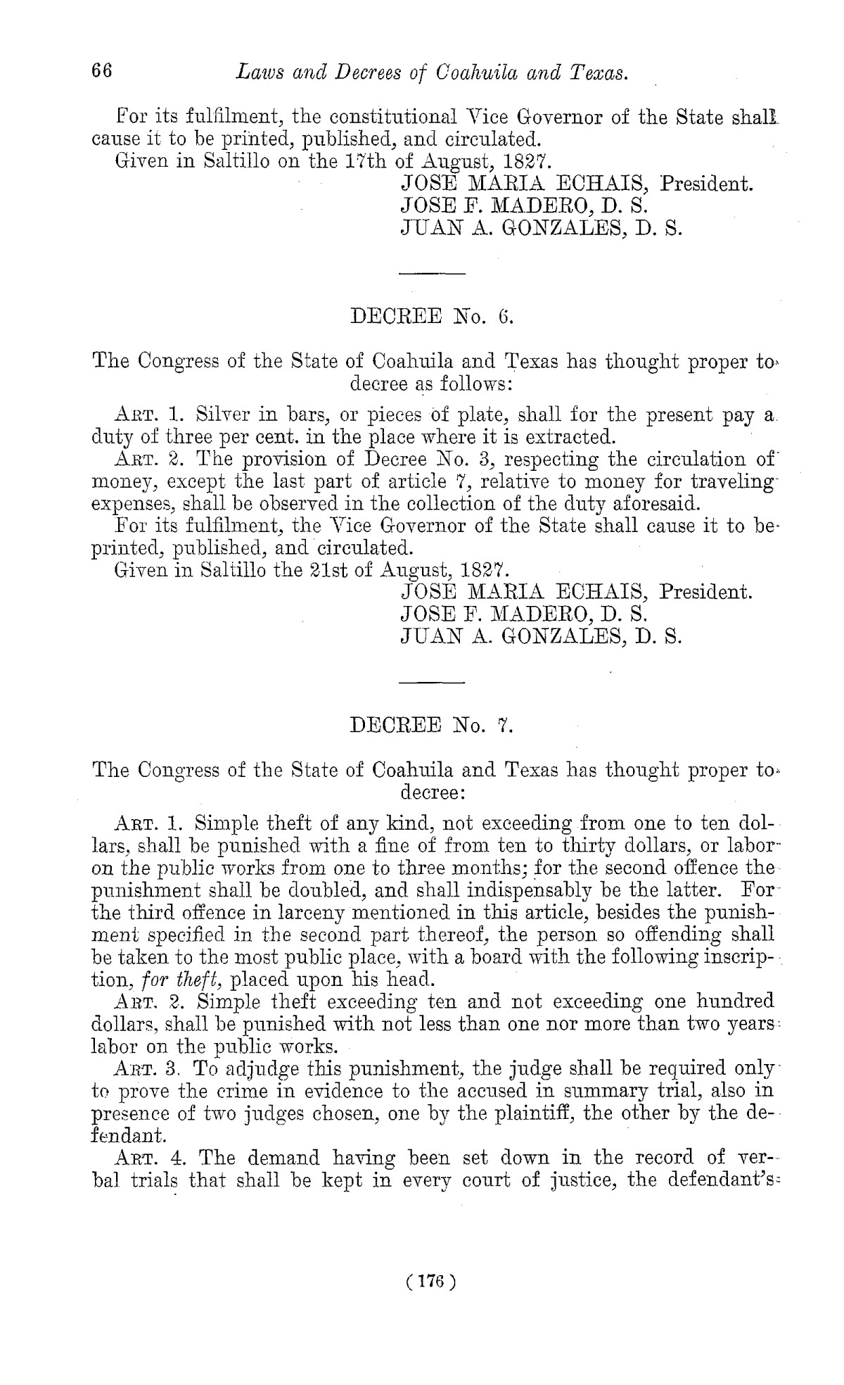 The Laws of Texas, 1822-1897 Volume 1                                                                                                      176