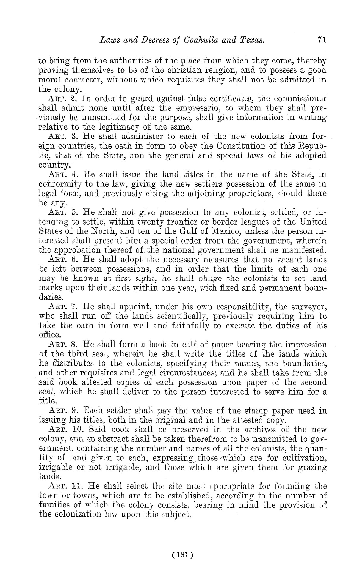 The Laws of Texas, 1822-1897 Volume 1                                                                                                      181