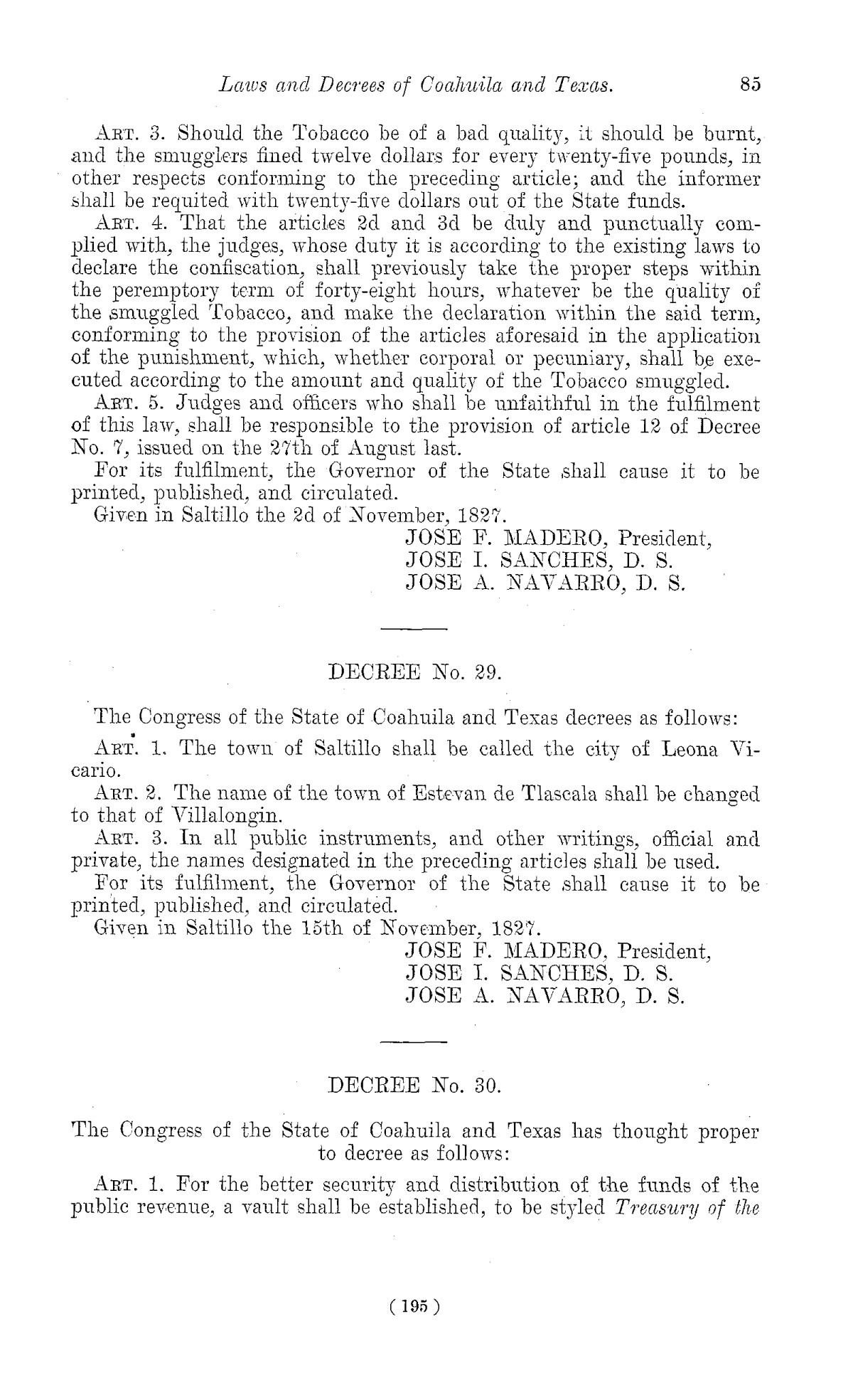 The Laws of Texas, 1822-1897 Volume 1                                                                                                      195