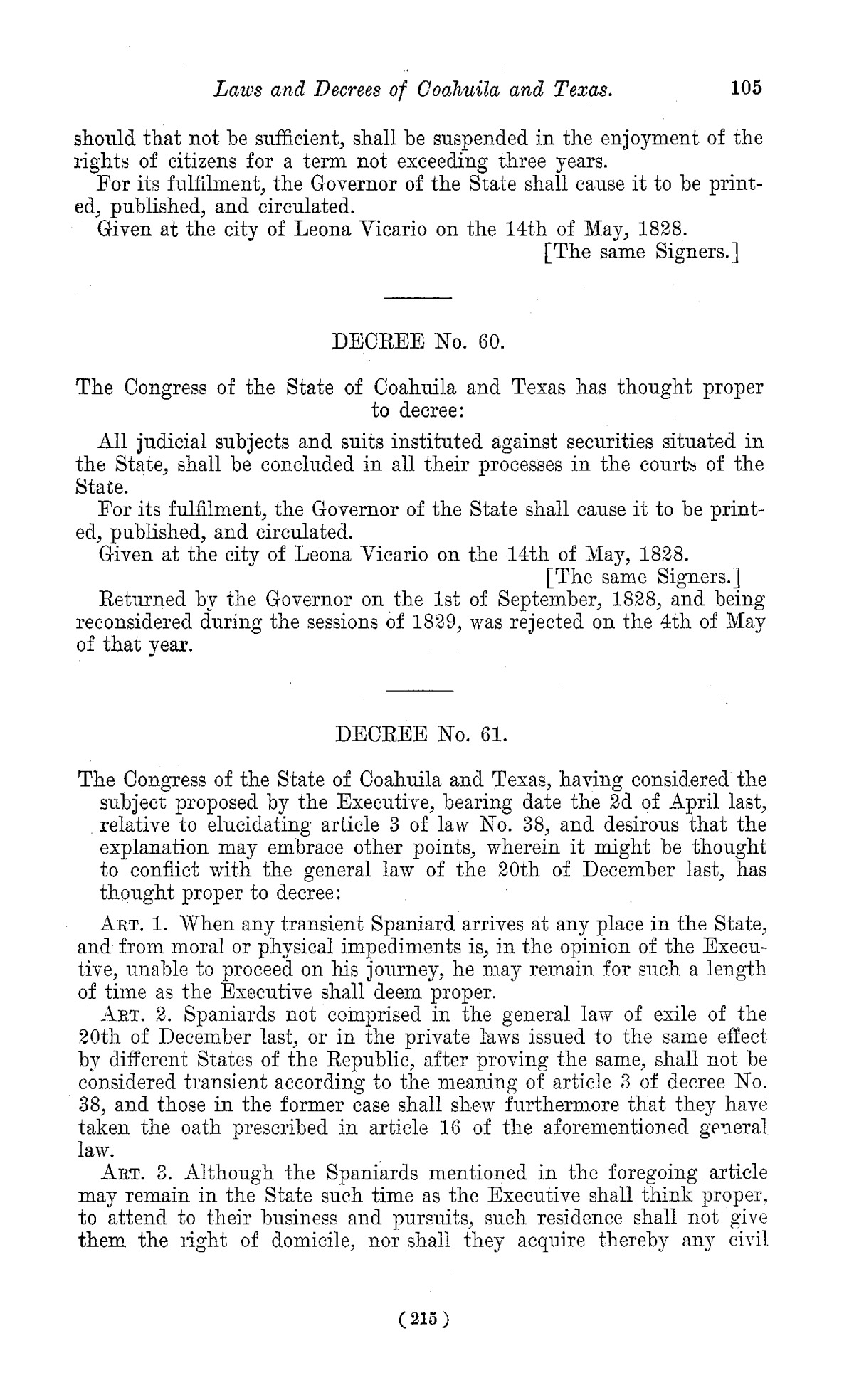 The Laws of Texas, 1822-1897 Volume 1                                                                                                      215