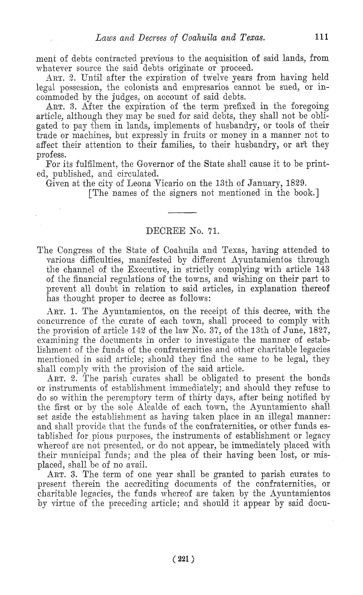 The Laws of Texas, 1822-1897 Volume 1                                                                                                      221