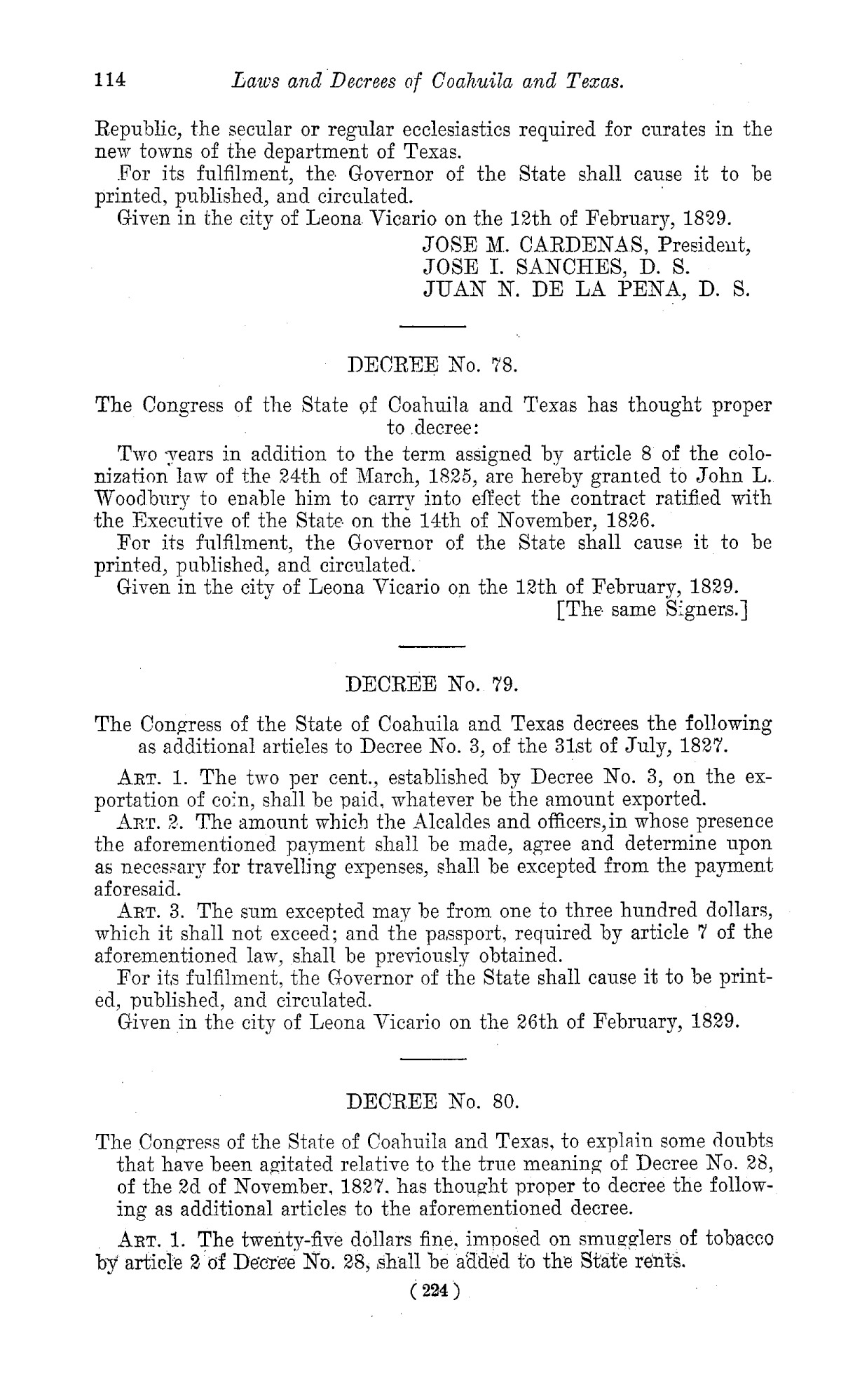 The Laws of Texas, 1822-1897 Volume 1                                                                                                      224