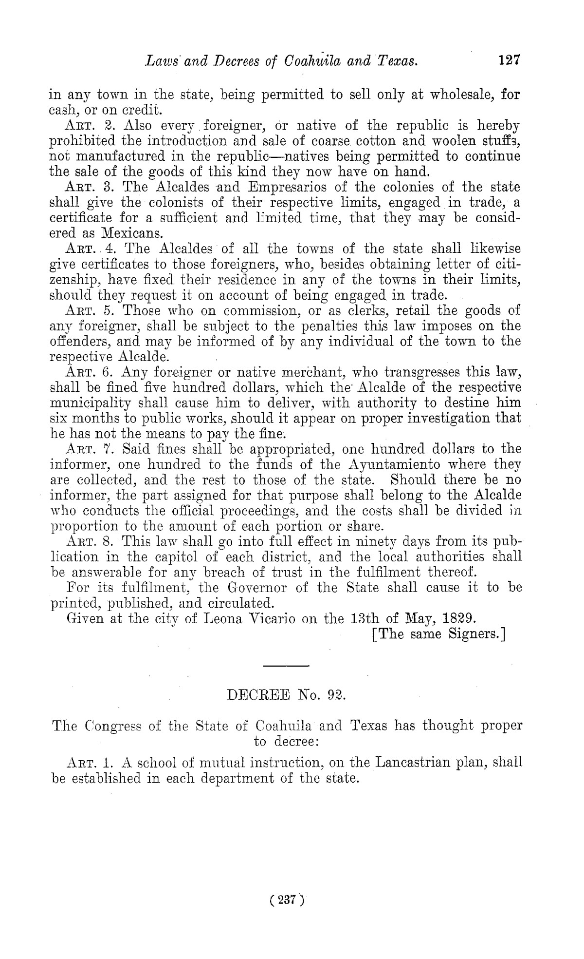 The Laws of Texas, 1822-1897 Volume 1                                                                                                      237