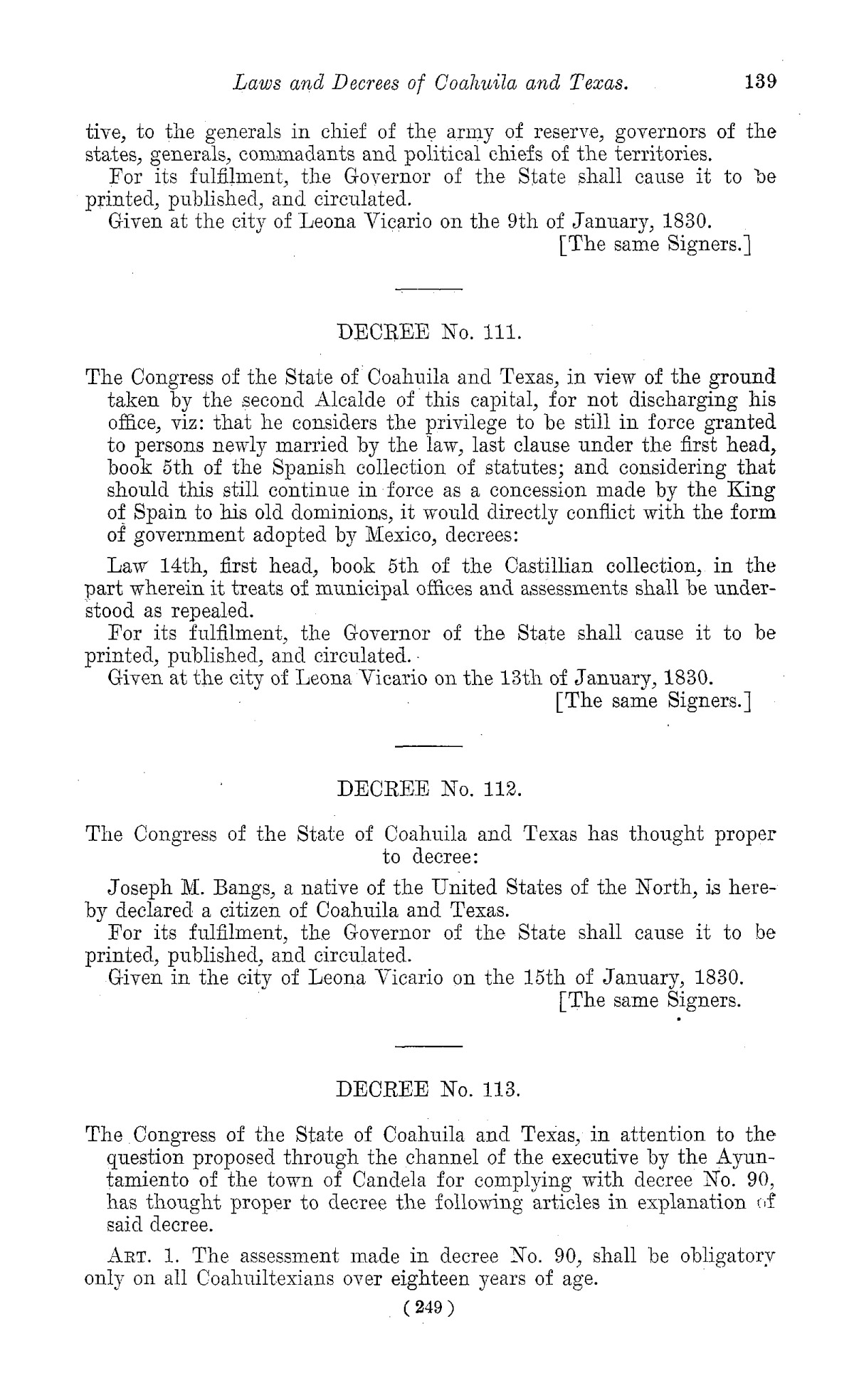 The Laws of Texas, 1822-1897 Volume 1                                                                                                      249