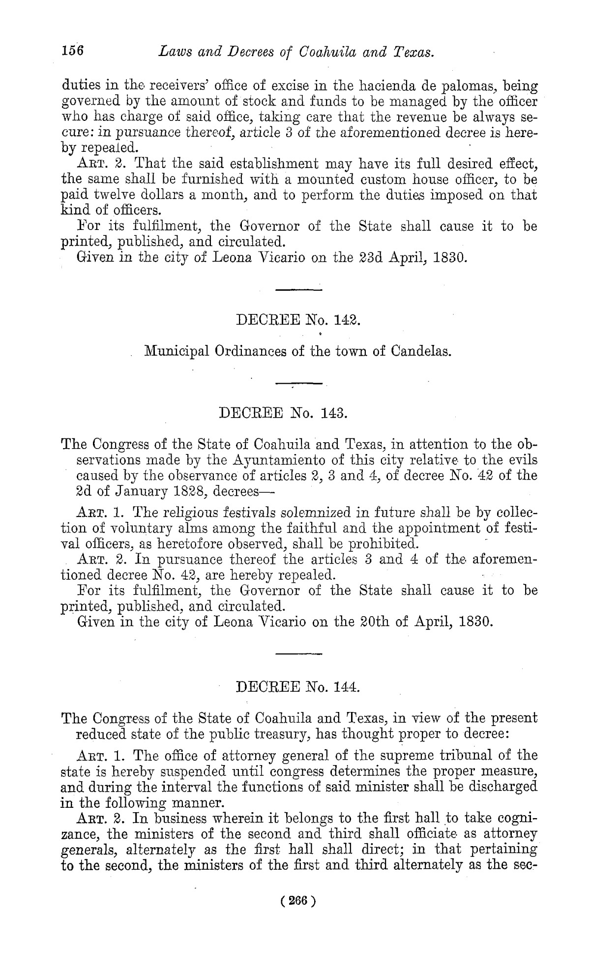 The Laws of Texas, 1822-1897 Volume 1                                                                                                      266