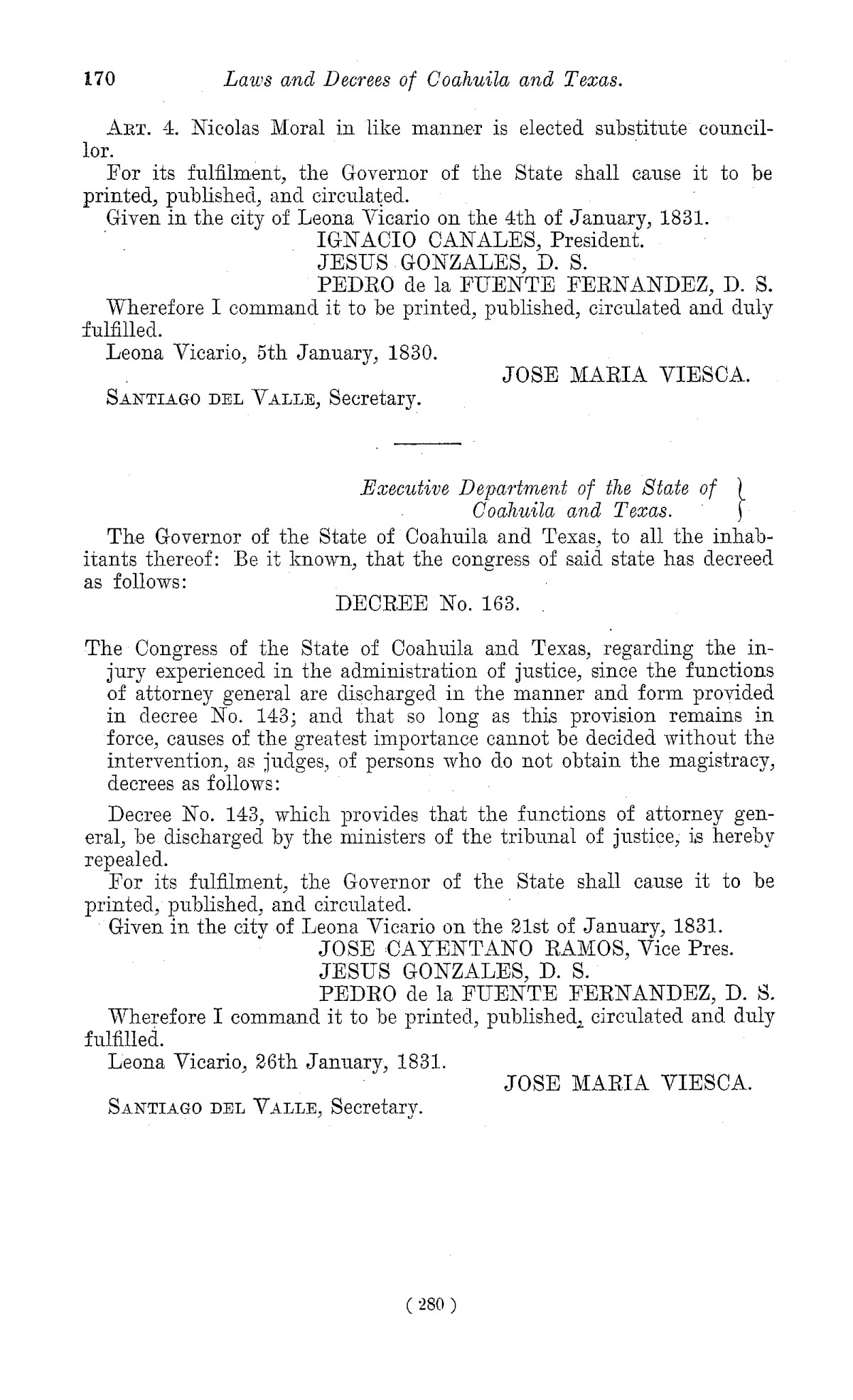 The Laws of Texas, 1822-1897 Volume 1                                                                                                      280