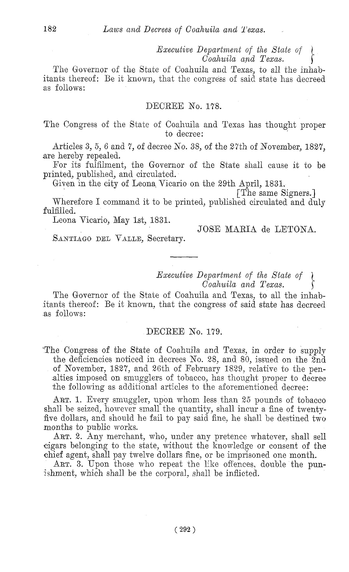 The Laws of Texas, 1822-1897 Volume 1                                                                                                      292