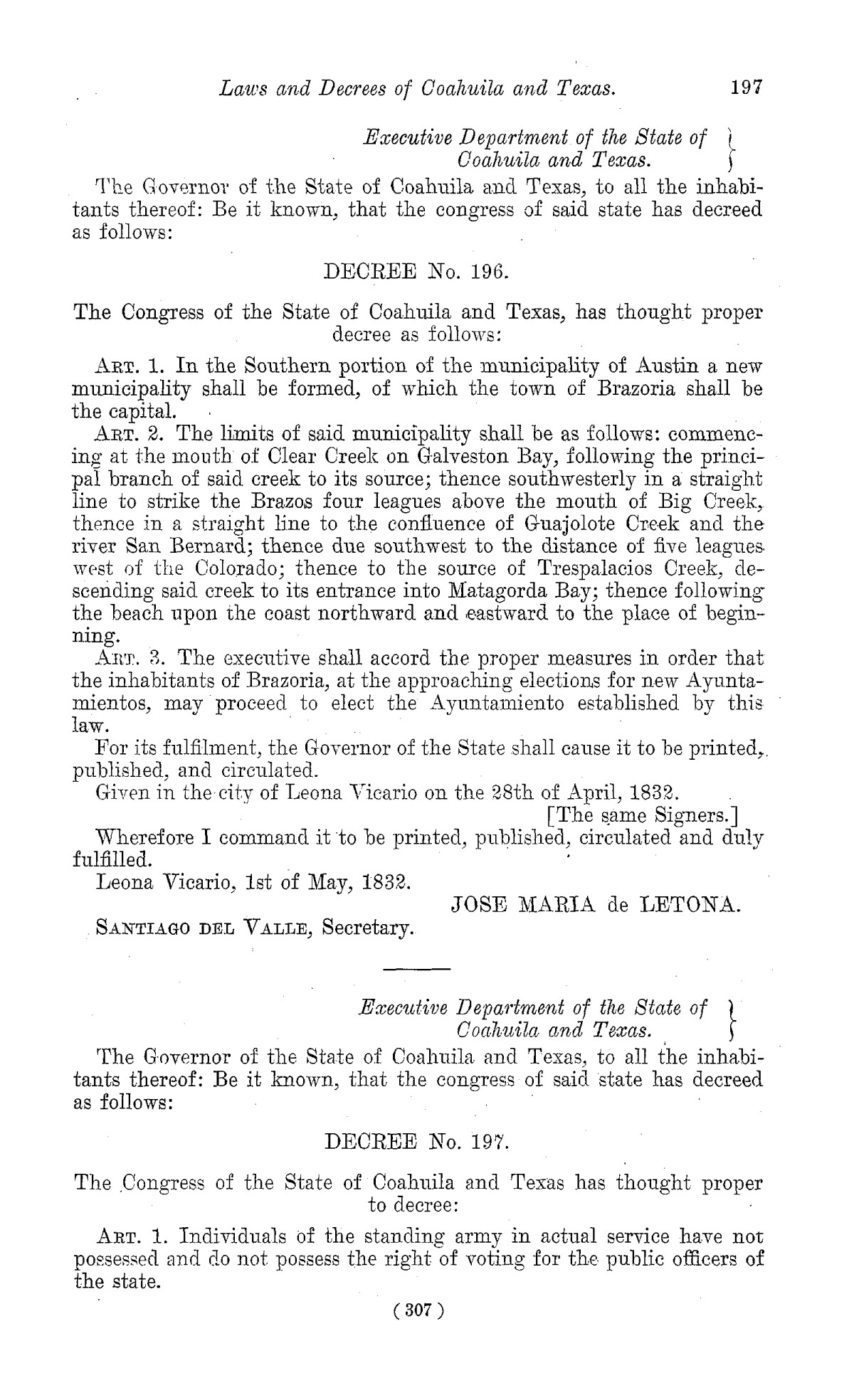 The Laws of Texas, 1822-1897 Volume 1                                                                                                      307