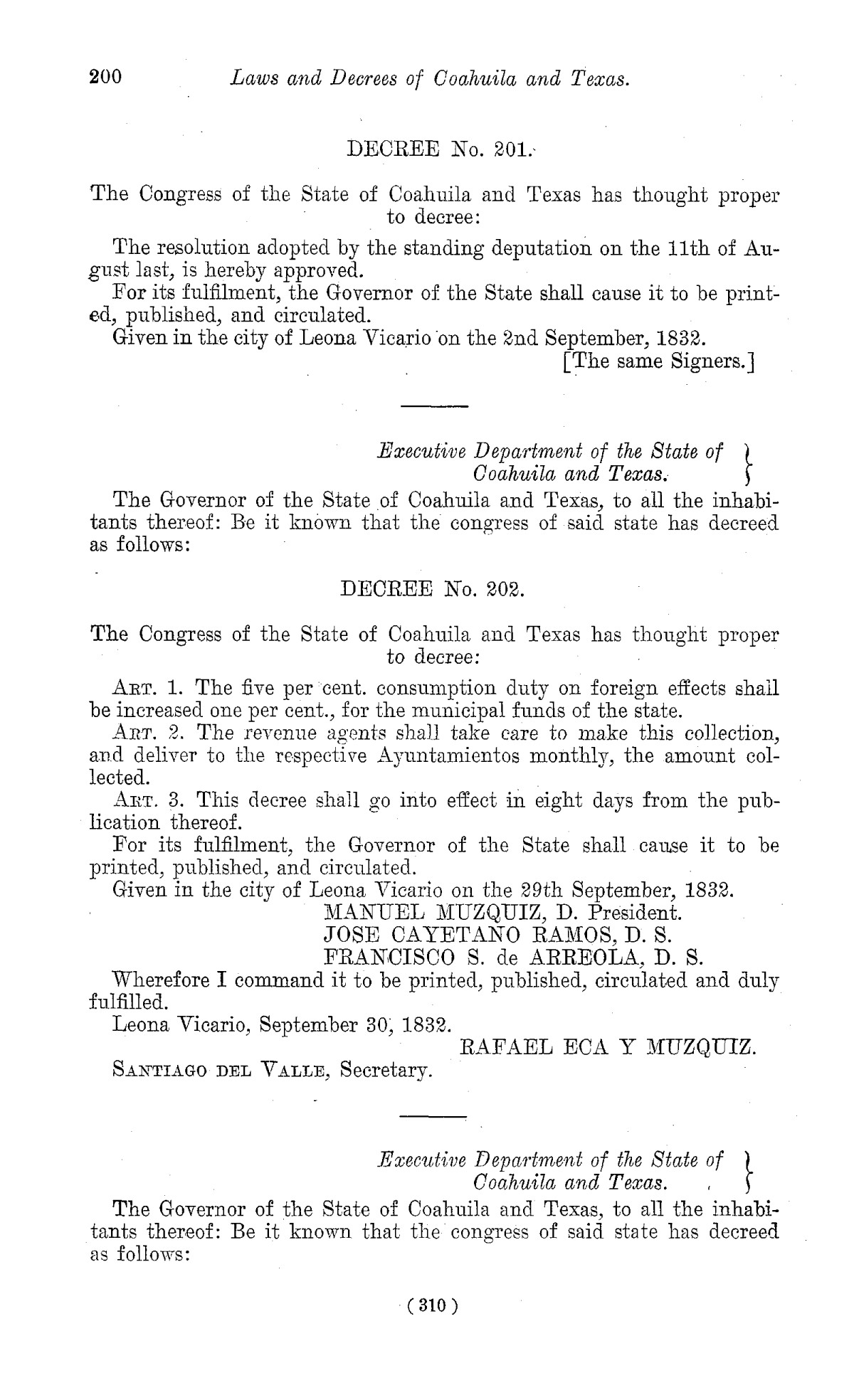 The Laws of Texas, 1822-1897 Volume 1                                                                                                      310