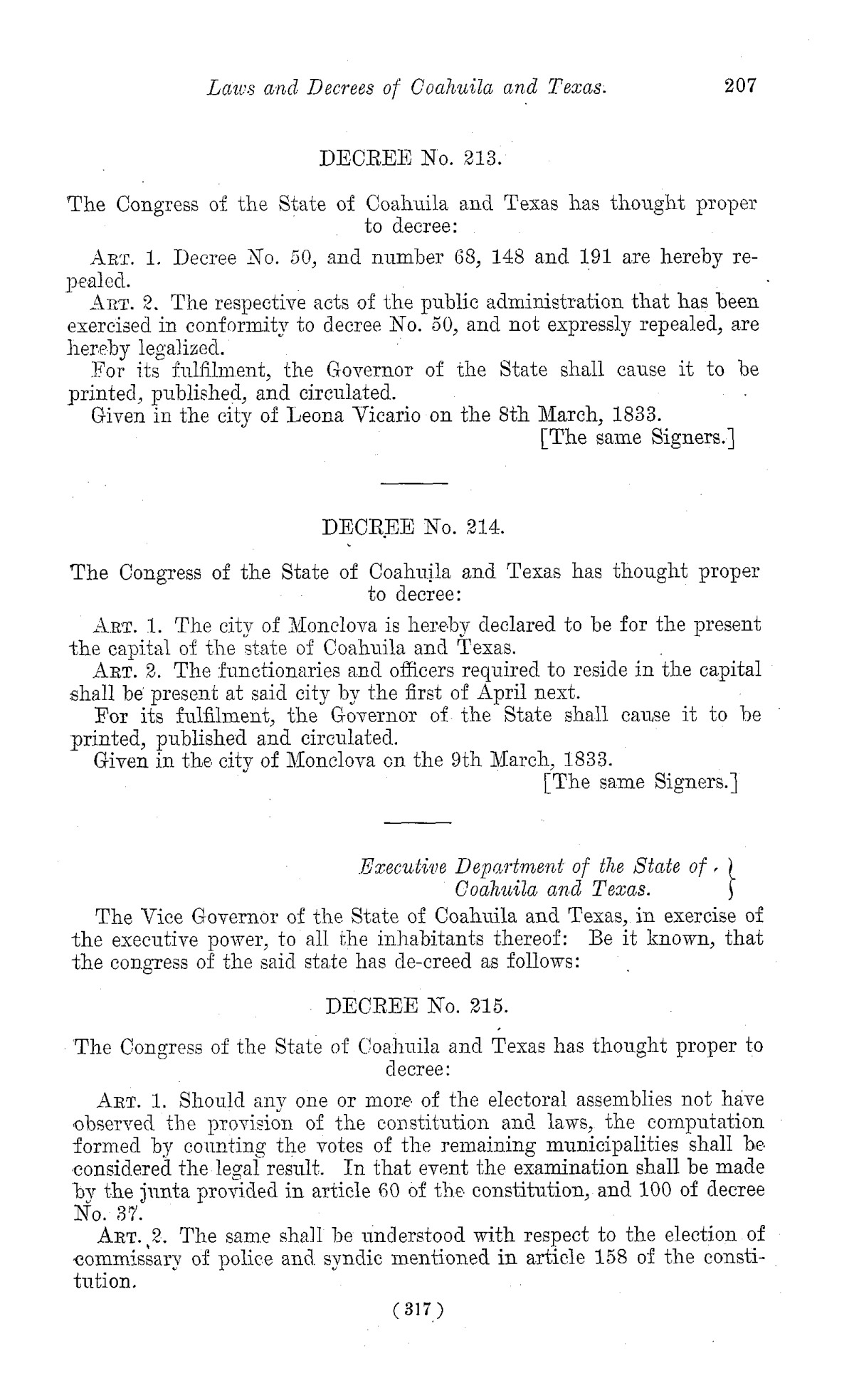 The Laws of Texas, 1822-1897 Volume 1                                                                                                      317
