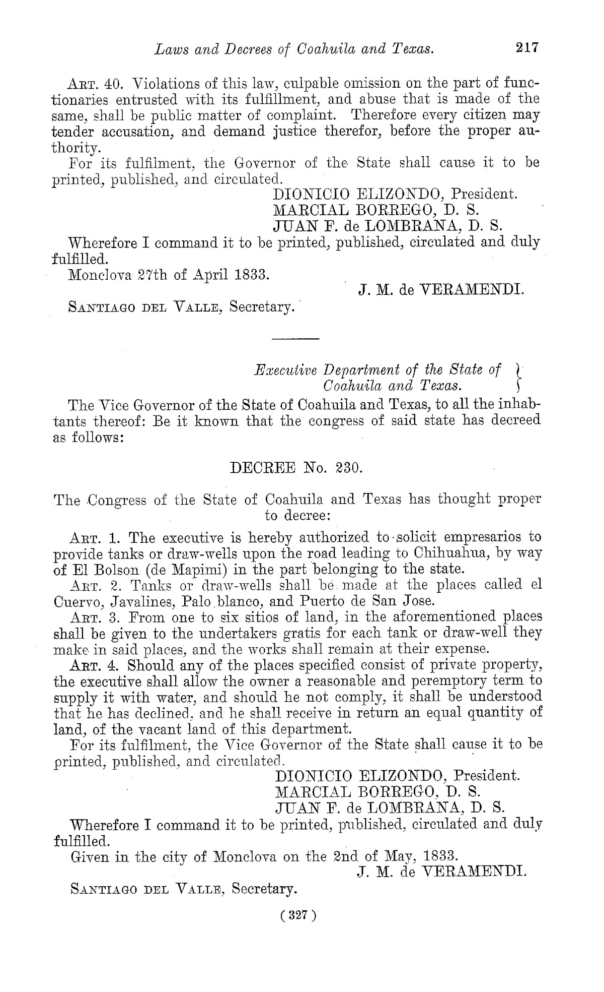 The Laws of Texas, 1822-1897 Volume 1                                                                                                      327