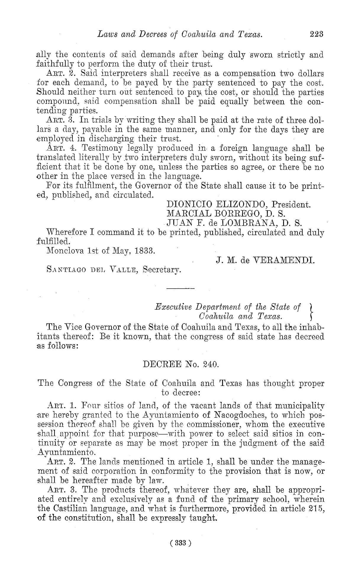 The Laws of Texas, 1822-1897 Volume 1                                                                                                      333