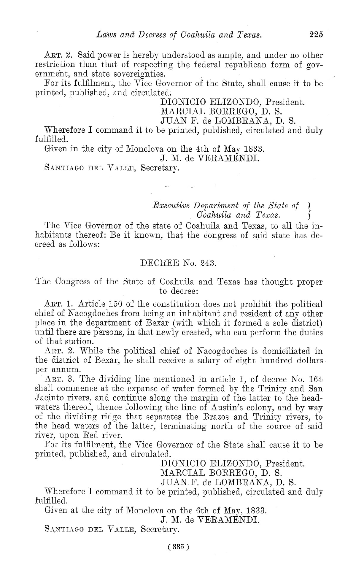 The Laws of Texas, 1822-1897 Volume 1                                                                                                      335