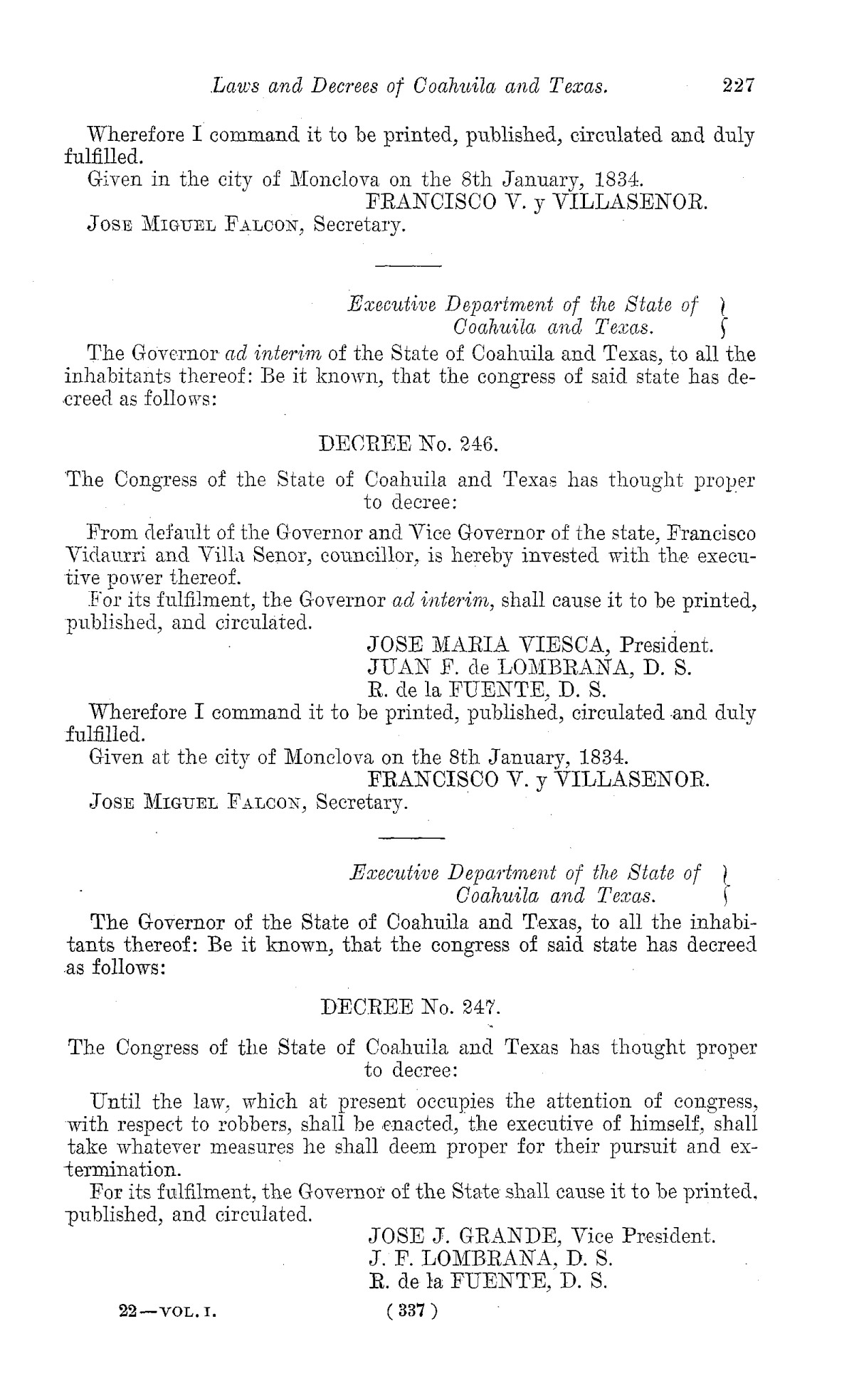 The Laws of Texas, 1822-1897 Volume 1                                                                                                      337